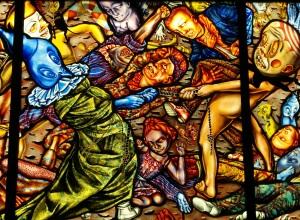 Judith Schaechter, The Battle of Carnival and Lent (detail)