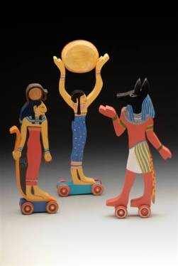 Sekhmet, Nut and Anubis. From the artist's website.